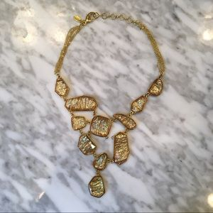 EUC Amrita Singh Gold Stone Bib Necklace